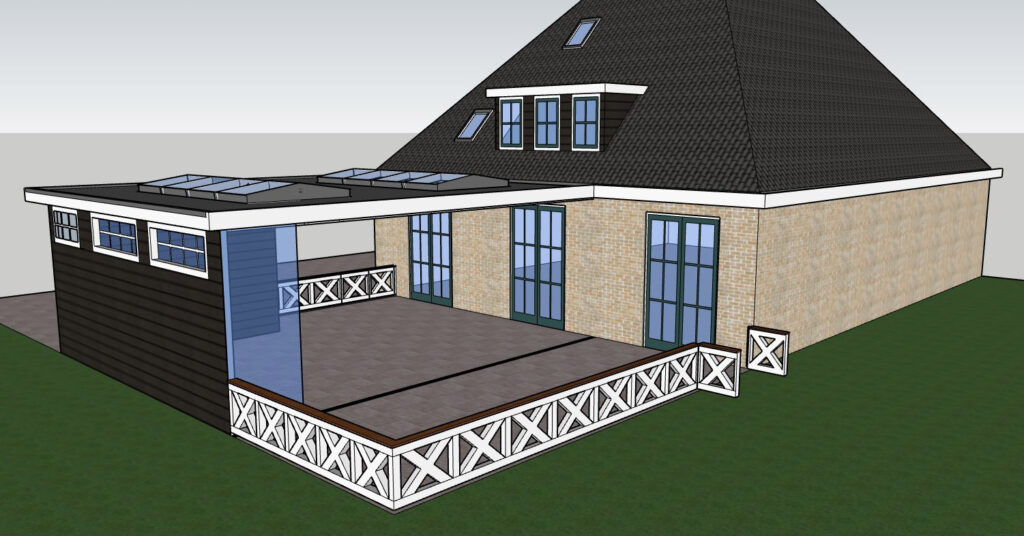 Impressie tekening veranda Veranda Plaza